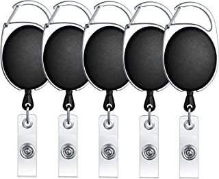ljdeals Retractable Badge Holder Carabiner Reel Clip On Id Card Holders, Pack of 5