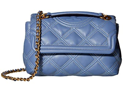 Tory Burch Fleming Soft Contrast Stitch Small Convertible Shoulder Bag (Bluewood/Pancake) Handbags