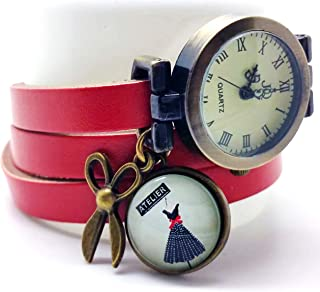 Orologio multi-fila cabochon cuoio- forbici - vestito - rosso - Regalo di Natale per idea regalo moglie - San Valentino (r...
