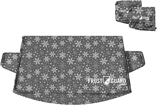 FrostGuard Plus Winter Windshield + Mirror Covers - Weather Resistant - Security Panels and Wiper Blade Cover - Protects from Snow, Ice and Frost (X-Large, Snowflake): image