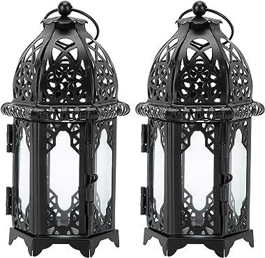 NoBrand 2 pièces Porte-Bougie de château Vintage, Chandeliers Noirs Lanterne décorative, décoration de Mariage en Fer rétro R