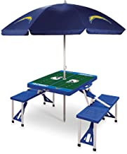 NFL Los Angeles Chargers Portable Picnic Table Sport with Umbrella, Blue