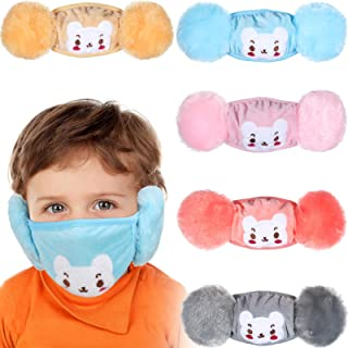 Syhood 5 Pieces Kids Winter Face Bandanas with Earmuffs Reusable Cold Weather Face Covering Turban Cartoon Neck Warmer Balaclava with Cute Patterns