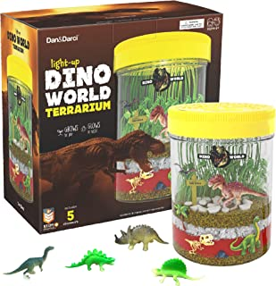 Light-up Dino World Terrarium Kit for Kids with LED Light on Lid - Create Your Own Customized Mini Dinosaur Garden in a Jar That Glows at Night - Great Science Kits - Gardening Gifts for Children