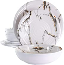 Elama Lightweight Dinnerware Set, 12 Piece, White Marble
