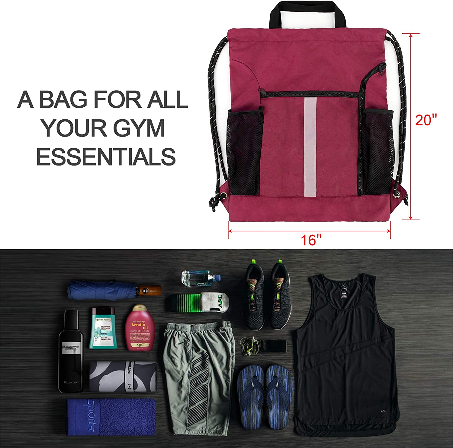 Drawstring Backpack Sports Gym Bag With Shoe Compartment and Two Water Bottle Holder