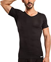 Ejis Men's Sweat Proof Undershirt, V Neck, Anti-Odor Silver, Micro Modal, Sweat Pads