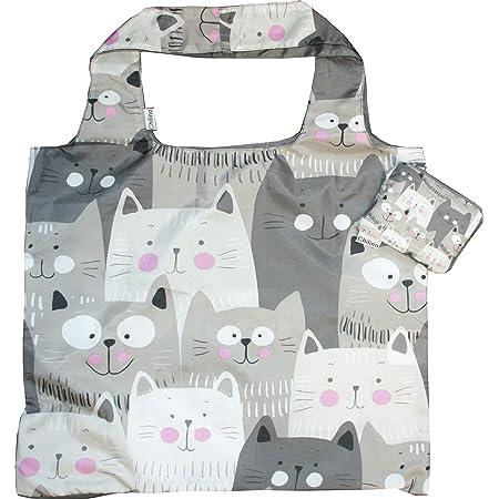 Chilino Katze Faltbare Mehrwegtasche/Umweltfreundlich/Hohe Tragkraft und Fassungsvermögen, Polyester, grau, 47 x 41 cm
