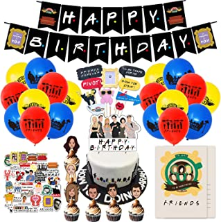Nelton Birthday Party Supplies For Friends TV SHOW Includes Banner - Cake Topper - 24 Cupcake Toppers - 18 Balloons - 15 I...