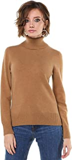 Womens Pure Cashmere Wool Turtle Sweater Long Sleeve...