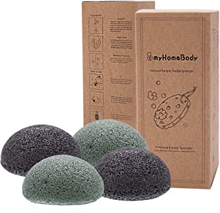 Natural Konjac Facial Sponges - for Gentle Face Cleansing and Exfoliation - with Activated Charcoal and Alo...
