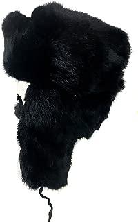 Genuine Rabbit Fur Trapper Aviator Hat - Warm Bomber Trooper Hat Black