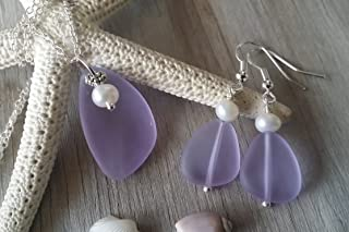 """product image for Handmade in Hawaii,""""Magical Color Changing"""" purple sea glass Necklace+Earrings Set, jewelry set, Freshwater pearl, February Birthstone, (Hawaii Gift Wrapped"""