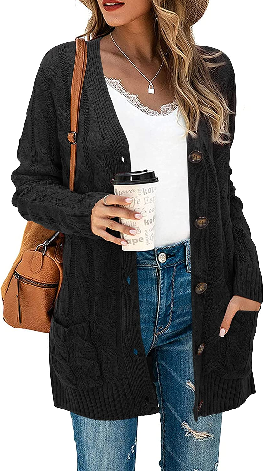 STYLEWORD Women's Long Sleeve Open Front Cardigan Button Down Cable Knit Sweater Loose Coat with Pockets