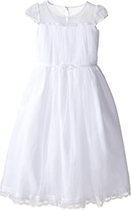 Satin & Embroidered Cap Sleeve Illusion w/ Full Skirt (Little Kids/Big Kids)