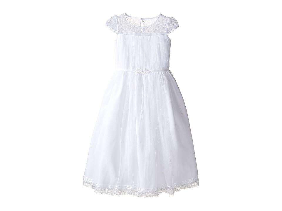 Us Angels Satin Embroidered Cap Sleeve Illusion w/ Full Skirt (Little Kids/Big Kids) (White) Girl