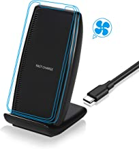 Wireless Charger, Fast Wireless Charger 10w with Cooling Fan, Qi Certified Wireless Charging Stand Compatible with XS X 8 Plus, Galaxy S10 S9 Note 8, Other Qi-Enabled Devices [No AC Adapter]