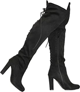 MVE Shoes Women's Chunky Heel Back Lace up Knee-high Boots