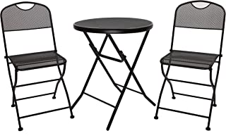 Finnhomy Mesh 3 Piece Folding Outdoor Patio Furniture Set Rust Proof Metal Outdoor Bistro Table Chair for Garden Backyard Pool Side Balcony Black