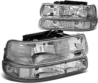 Chrome Housing Clear Corner Headlight+Bumper Light Lamp for Chevy Silverado Suburban Tahoe 99-02
