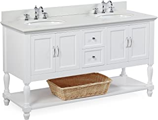 Beverly 60-inch Double Sink Bathroom Vanity (Quartz/White): Includes a White Cabinet with Soft Close Drawers, White Quartz Countertop, and White Ceramic Sinks