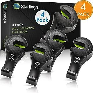 Starling's Headrest Hooks for Car - Back Seat Organizer Hanger Storage Hook, Car SUV(Set of 4) Black, Purse Hook for Car Handbag Clothes Umbrellas Coats Grocery Bags & More!