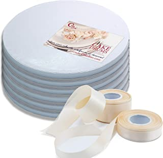 Cake Drums Round 10 Inches - Sturdy 1/2 Inch Thick - Professional Smooth Straight Edges - FREE Satin Cake Ribbon (White, 6-Pack)