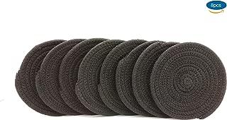 ZKZNsmart 6 Inch Hand Knitting of Cotton Thread Coasters Non-Slip Heat Insulation Round Mats, Set of 8 (Black)