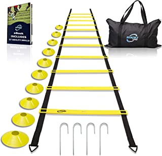 Invincible Fitness Agility Ladder Training Equipment Set, Improves Coordination, Speed, Explosive Power and Strength, Includes 10 Cones + 4 Hooks for Outdoor Workout