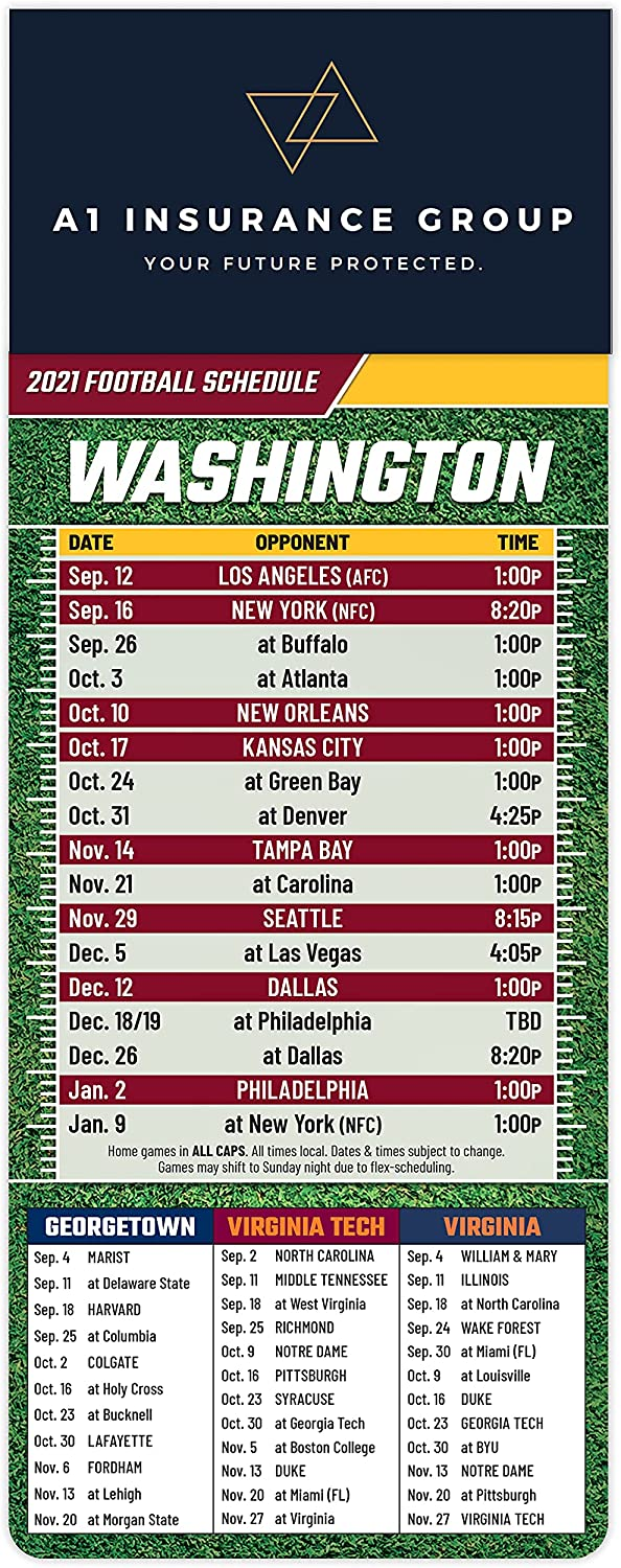 2021 Pro Football Sports Schedule - Magnets Max 89% OFF SALENEW very popular! Cou 100 WASHINGTON