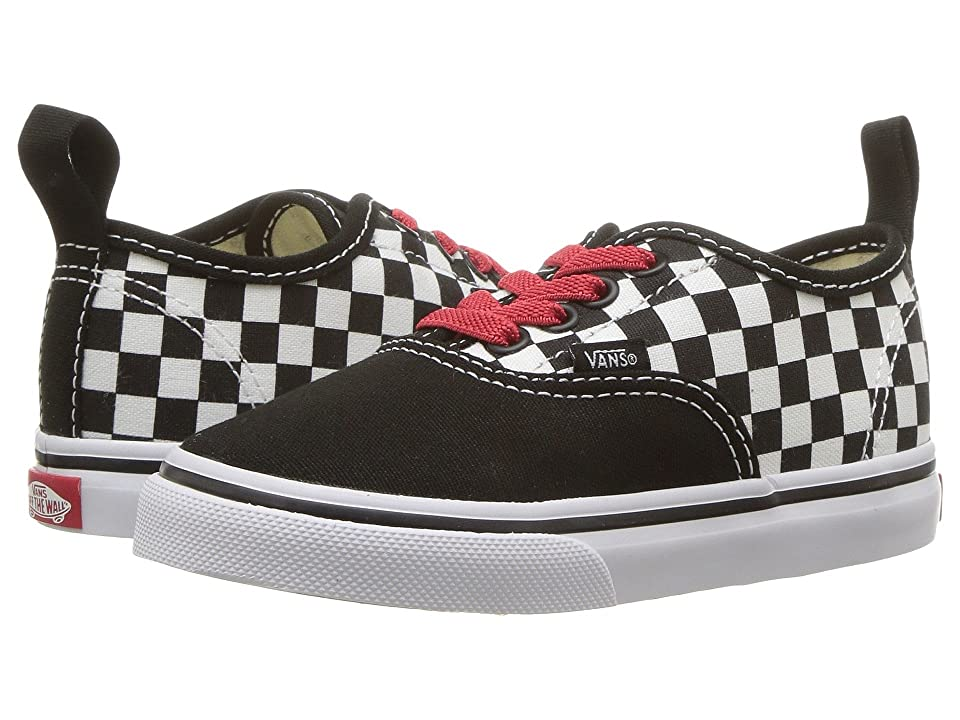 Vans Kids Authentic Elastic Lace (Infant/Toddler) ((Checkerboard) Black/Red/True White) Boys Shoes