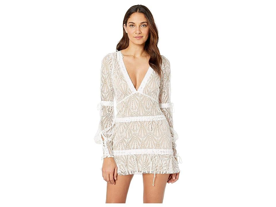 e2bf4578d0aa For Love and Lemons Bright Lights Long Sleeve Mini Dress (White) Women