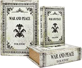 Jolitac Decorative Book Boxes World Map Pattern Antique Book Invisible Box with Magnetic Cover, Faux Wood Set of 3 Storage Set (War and Peace)
