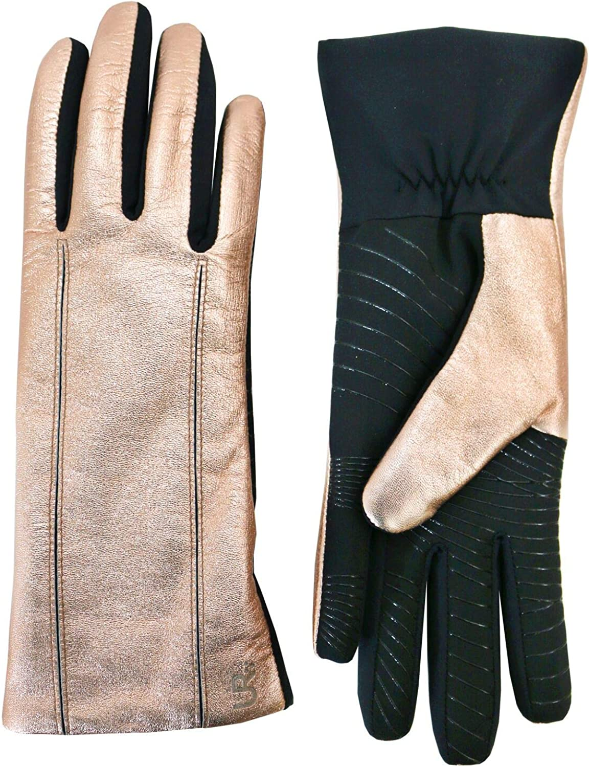 U R Powered Women's Leather & Stretch Touchscreen Gloves, Rose Gold, L/XL