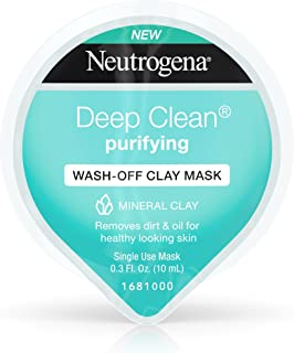 Neutrogena Deep Clean Gentle Purifying Wash-Off Clay Face Mask, Oil-Free and Non-Comedogenic, 0.3 Fluid Ounce (Pack of 12)