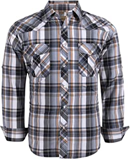 Coevals Club Men's Snap Button Down Plaid Long Sleeve Work Casual Shirt
