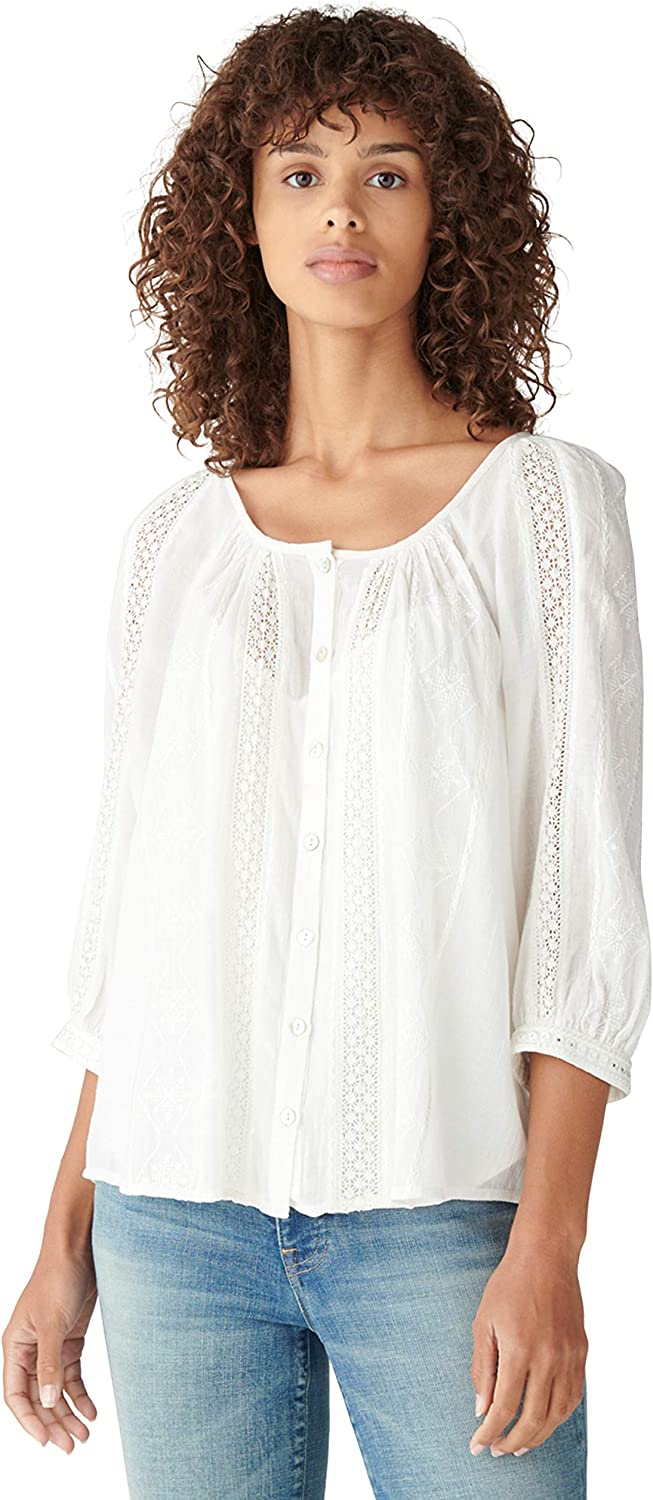 Lucky Brand Women's Puff Sleeve Button Up Lace Inset Embroidered Blouse