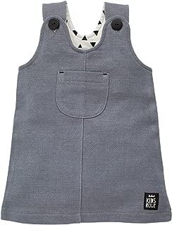 Happy Day Baby Kleid 100/% Baumwolle Pinokio Grau mit Kn/öpfen- /ärmellos mit Tasche M/ädchen Kleidchen schlicht