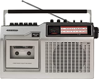 Crosley CT200A Retro Portable Cassette Player with AM/FM Radio and Built-in Microphone, Silver