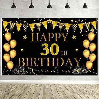 Boao Toile de Fond de Photo de 30e Anniversaire en Or Rose Toile de Fond de 30e Anniversaire pour D/écorations de F/ête de 30 Ans Toile de Fond Affiche Banni/ère de F/ête de Diamant Brillante pour Femmes