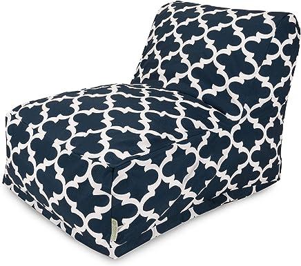 Majestic Home Goods Trellis Bean Bag Chair Lounger,  Navy