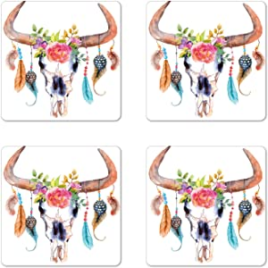 Ambesonne Feather Coaster Set of 4, Watercolor Style Bull Skull Ornaments Vibrant Image, Square Hardboard Gloss Coasters, Standard Size, White Brown