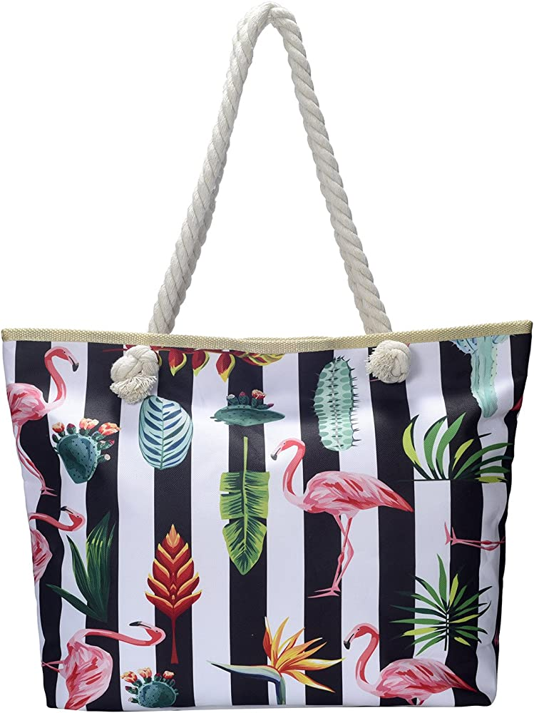 Dondon borsa da spiaggia a mano/spalla per donna grande 58 x 38 x 18 - 50% cotone e 50% poliestere BBAG71-neu