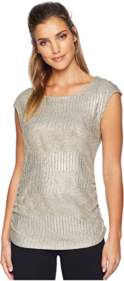 Sleeveless Metallic Top w/ Buttons
