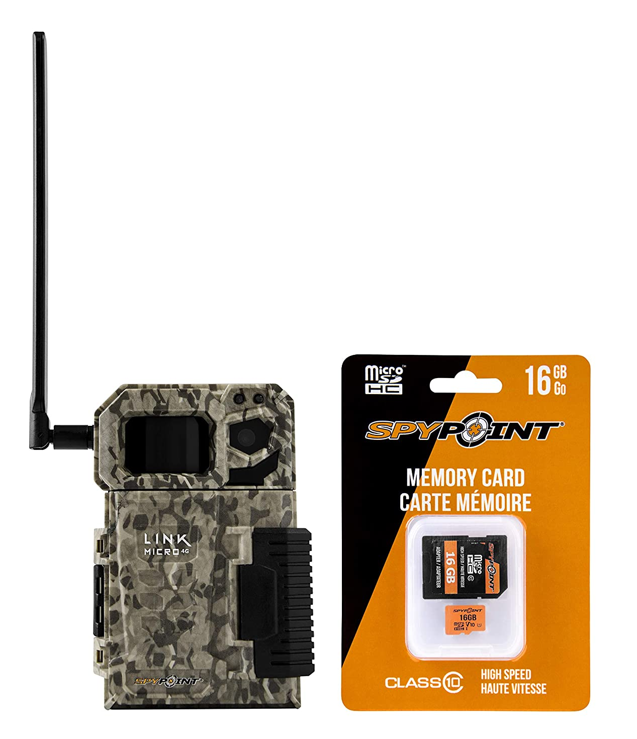 SPYPOINT Link Micro with 16GB MicroSD (Smallest on The Market!) Wireless/Cellular Trail Camera, Fast 4G Photo Transmission w/Preactivated SIM, Fully Configurable via App