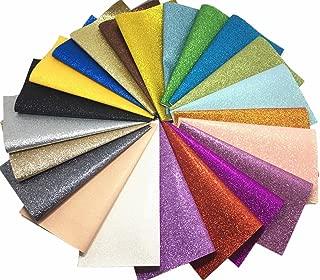 "Misscrafts 22pcs 8.7"" x 8"" (22cm x 20cm) Top Sparkly Glitter Fabric Bundle Patchwork Thick Glitter Canvas Back Craft DIY Craft Assorted Colors"