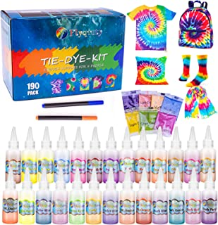Flyqiuty Tie Dye Kit, 26 Couleurs Kit de Teinture Tissu pour Enfants, Peinture Textile et Tissu Permanent Non Toxique DIY ...