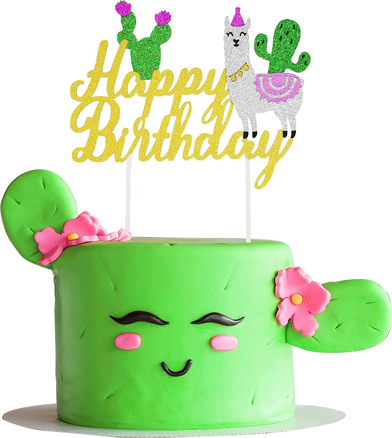 Gold Glitter Llama Cactus Los Angeles Mall Cake Topper Fiesta B for Theme Mexican Selling rankings