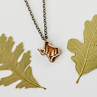 Texas Trees Outline Pendant Necklace