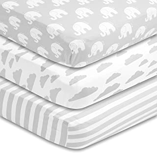 BaeBae Goods Premium Crib Sheets for Baby Boys and Girls, 3 Pack, Soft and Breathable Jersey Cotton Fitted Sheet Set, Grey...